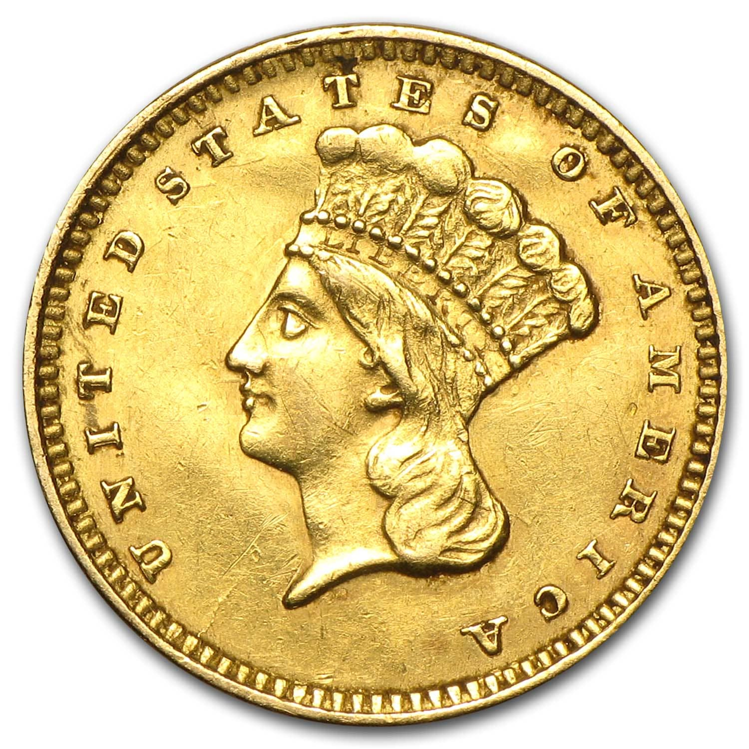 $1 Indian Head Gold Type 3 (Cleaned)